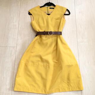 バーニーズニューヨーク(BARNEYS NEW YORK)のBARNEYS NEWYORK イエロー ワンピース ベルト セット 黄色ドレス(ひざ丈ワンピース)