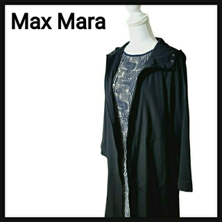 マックスマーラ(Max Mara)の【着痩せ!】Max Mara マックスマーラ ロング スプリングコート ブラック(スプリングコート)
