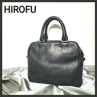 【シボ革・レザー】HIROFU ヒロフ ハンドバッグ ネイビー イタリア製(ハンドバッグ)