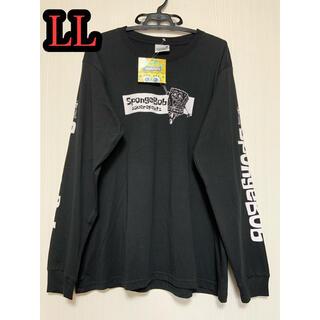 スポンジボブ ロングTシャツ LLサイズ ロンT ブラック Tシャツ(Tシャツ/カットソー(七分/長袖))
