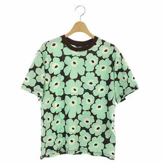 マリメッコ(marimekko)のマリメッコ 花柄Tシャツ カットソー 半袖 XS 茶 ブラウン ライトグリーン(Tシャツ(半袖/袖なし))