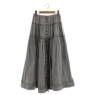 カネコイサオ(KANEKO ISAO)のカネコイサオ リボンフリル付きチェックスカート フロントボタン フレア ロング(ロングスカート)