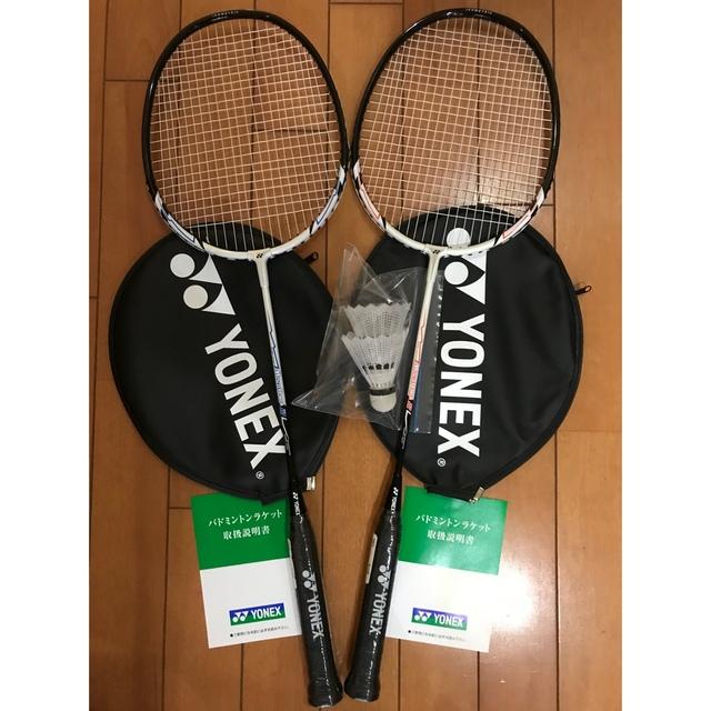 YONEX(ヨネックス)の未使用ヨネックスバドミントンラケット二本+シャトル スポーツ/アウトドアのスポーツ/アウトドア その他(バドミントン)の商品写真