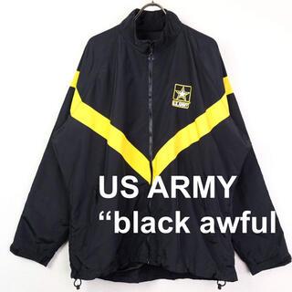 サンタモニカ(Santa Monica)のUSA古着 U.S.ARMY ナイロントレーニングジャケット S-R 黒×黄(ナイロンジャケット)