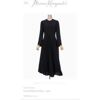 mame - mamekurogouchi  Curved Pleated Dressネイビー