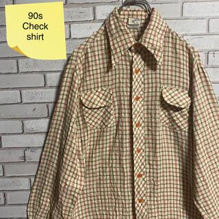 90s 古着 ヴィンテージ  BDシャツ チェックシャツ ゆるだぼ(シャツ)