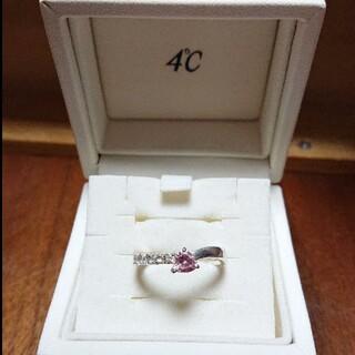4℃ - 特売✨4℃  ピンクトルマリン&キュービックジルコニアsilverの指輪(9号)
