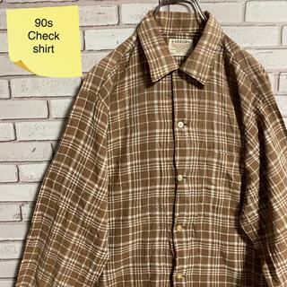 90s 古着 ヴィンテージ チェックシャツ USA製 アースカラー ゆるだぼ(シャツ)