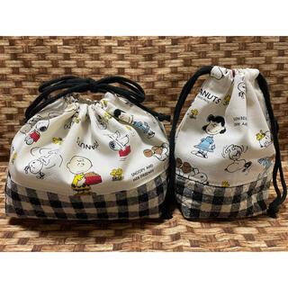 ★スヌーピー★白✖️ギンガム★お弁当袋&コップ袋★ハンドメイド★(外出用品)
