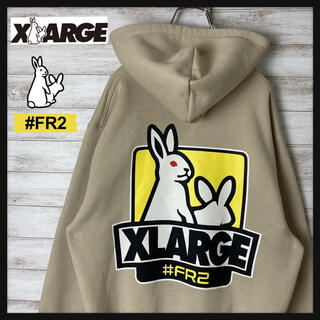 XLARGE - 【希少カラー】FR2 エクストララージ パーカー バックプリント うさぎ 刺繍