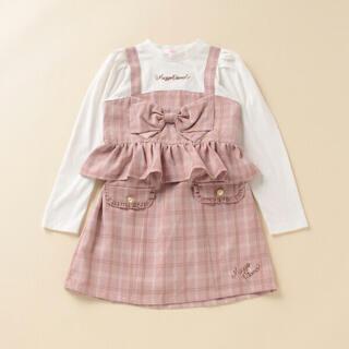 mezzo piano - メゾピアノ  チェック柄ビスチェ風Tシャツ×台形スカートセット