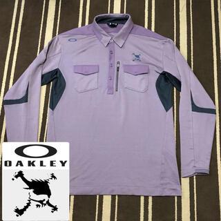 オークリー(Oakley)の美品 オークリー スカル ゴルフ ストレッチ長袖ポロシャツ パープル XL(ウエア)
