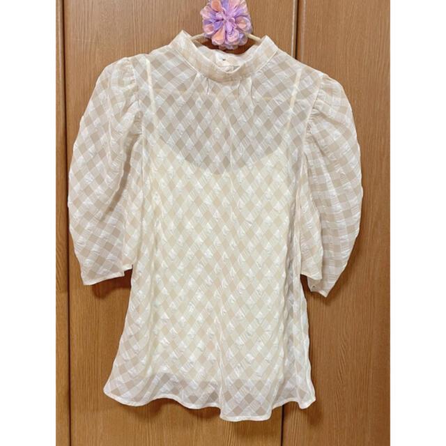 Lily Brown(リリーブラウン)のリリーブラウン 2021SS 川口春奈さん着用 シアーチェックブラウス レディースのトップス(シャツ/ブラウス(半袖/袖なし))の商品写真