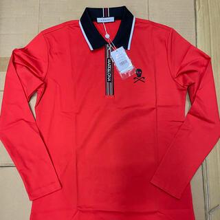 マークアンドロナ(MARK&LONA)の新品未使用 ポロシャツ マーク&ロナ  長袖ポロシャツ Mレッド(ウエア)