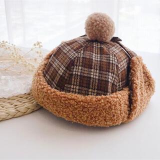 コドモビームス(こども ビームス)のポンポン チェック ボア フライトキャップ ブラウン(帽子)