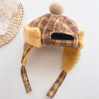 コドモビームス(こども ビームス)のポンポン ボア チェック フライトハットキャップ イエロー(帽子)