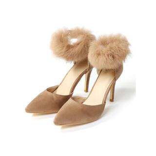 グレイル(GRL)の値下げ♡GRL アンクル ファーパンプス ベージュ 靴 人気 韓国ファッション(ハイヒール/パンプス)