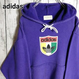 adidas - 【デサント製・90s】アディダス スウェットパーカー ビッグロゴ 太アーム 紫