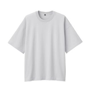 ムジルシリョウヒン(MUJI (無印良品))の無印良品 ニットTシャツ 半袖 ライトシルバーグレー 新品未使用 L〜XL(Tシャツ/カットソー(半袖/袖なし))