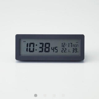 MUJI (無印良品) - 無印良品 デジタル電波時計(大音量アラーム機能付)置時計・ブラック