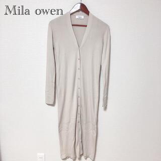 Mila Owen - 【美品】Mila owen リーンシルエットリブロングニットカーデ アイボリー