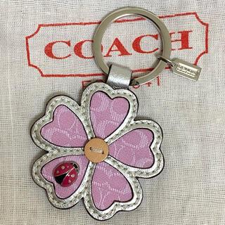 COACH - 【新品・未使用】 COACH フラワー 花 てんとう虫 キーホルダー ピンク