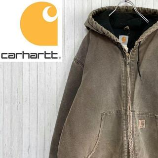 カーハート(carhartt)のカーハート ダックジャケット アクティブパーカー ダークブラウン 革ロゴ L(ブルゾン)