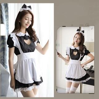 メイド服 カチューシャ+白タイツセット コスプレ かわいい 猫耳(衣装一式)