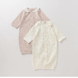 プティマイン(petit main)の【プティマイン】ロンパース カバーオール ピンク 襟付き 50-70(カバーオール)