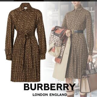 BURBERRY - BURBERRY モノグラム ジャージー タイウエスト シャツドレス