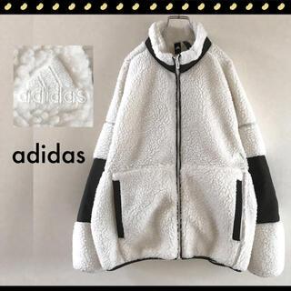 adidas - アディダス★ボアフリースジャケット★レトロデザイン★エンボス刺繍ロゴ★白x緑
