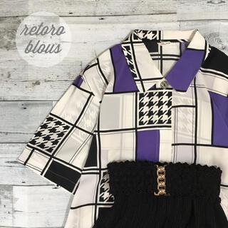 ロキエ(Lochie)の昭和レトロパターン柄ブラウス千鳥格子ゆったりデザインシャツ半袖透け素材(シャツ/ブラウス(半袖/袖なし))