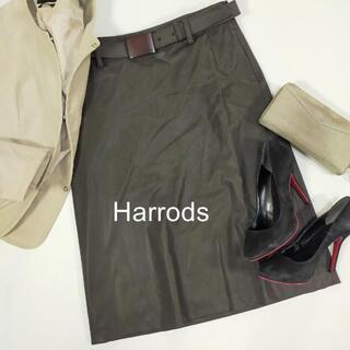 ハロッズ(Harrods)のハロッズ ベルト付き ブラウン ロングスカート サイズ3 M 日本製 シンプル(ロングスカート)