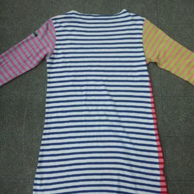 DENIM DUNGAREE(デニムダンガリー)の大人サイズ クレイジーボーダーワンピース キッズ/ベビー/マタニティのキッズ服 女の子用(90cm~)(ワンピース)の商品写真