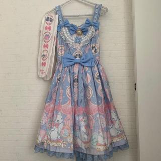 アンジェリックプリティー(Angelic Pretty)の新品 アンジェリックプリティ Dolly cat ジャンパースカート タイツ (ひざ丈ワンピース)