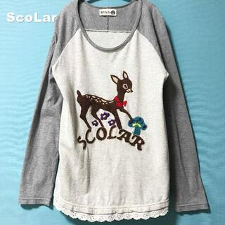 スカラー(ScoLar)の【SCOLAR】Bambi刺繍 ロゴ レース切替 ラグラン ロングカットソー(カットソー(長袖/七分))