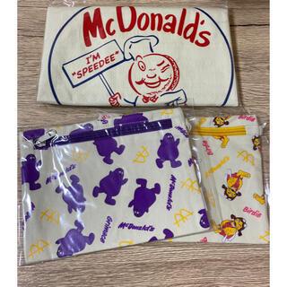マクドナルド(マクドナルド)のマクドナルド ビッグスマイルバッグ ポーチ 3個セット(ノベルティグッズ)