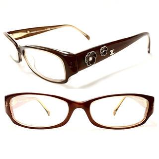 シャネル(CHANEL)のシャネル カメリア パール ココ ブラウン メガネ 3198 上品 可愛い♡希少(サングラス/メガネ)