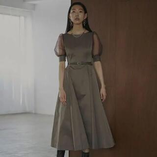 アメリヴィンテージ(Ameri VINTAGE)のsheer puff sleeve dress(ロングドレス)