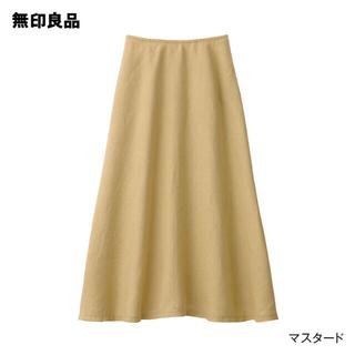 ムジルシリョウヒン(MUJI (無印良品))の無印良品 フレンチリネンフレアースカート L マスタード(ロングスカート)