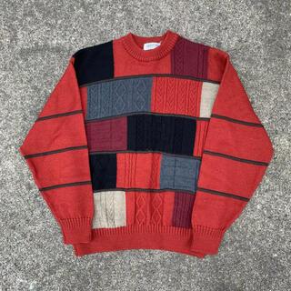 COOGI似 クージー 3Dニット セーター古着 vintage アーガイル(ニット/セーター)