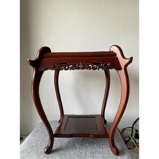 中国美術 唐木製 花台 卓 飾り台 紫壇 紅木 インテリア 木製 高さ約36cm(彫刻/オブジェ)