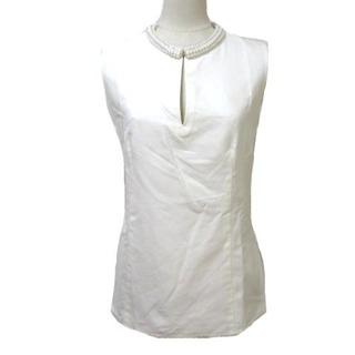 スリーワンフィリップリム(3.1 Phillip Lim)の3.1 フィリップリム ノースリーブシャツ プルオーバー ビジュー 白 0(シャツ/ブラウス(半袖/袖なし))