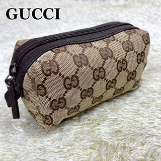 Gucci - 【極美品】グッチ GGキャンバス メイクポーチ コスメ 化粧 小物入れ ブラウン