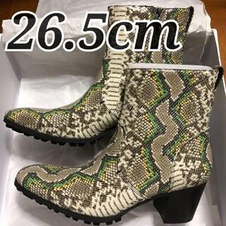 ジョンローレンスサリバン(JOHN LAWRENCE SULLIVAN)のラスト1◆ 26.5cm yosuke  ロングノーズヒールアップブーツ 蛇柄(ブーツ)