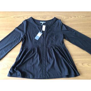 ローラアシュレイ(LAURA ASHLEY)のローラアシュレイの刺繍付きブラウス(未使用品)黒(シャツ/ブラウス(長袖/七分))
