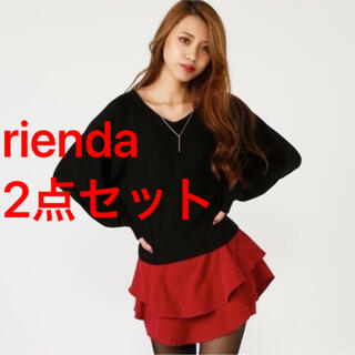 リエンダ(rienda)のriendaリエンダ2点セットドルマンニット&ミニスカートショートパンツ(セット/コーデ)
