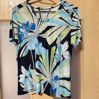 レオナール(LEONARD)のレオナールスポーツ トップス 半袖 花柄 42サイズ(カットソー(半袖/袖なし))