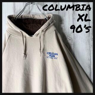 Columbia - 【XL 90s】コロンビア 刺繍ロゴ バイカラー スウェット パーカー ベージュ