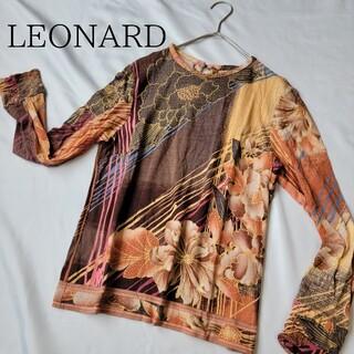 レオナール(LEONARD)の✨美品✨レオナール LEONARD 長袖 カットソー トップス 花柄 サイズ40(カットソー(長袖/七分))